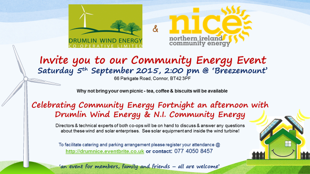 An Invitation to join Drumlin Wind Energy & NICE at their first community renewable energy event!